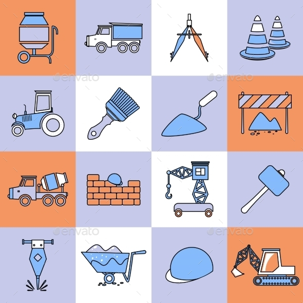 Construction Icons Set Flat Line - Web Elements Vectors