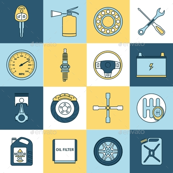 Car Parts Icons Flat Line - Web Elements Vectors