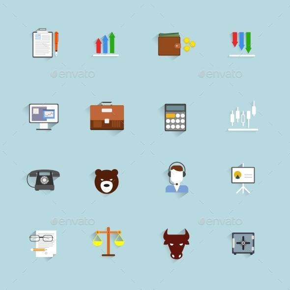Finance Exchange Icons Flat - Web Technology