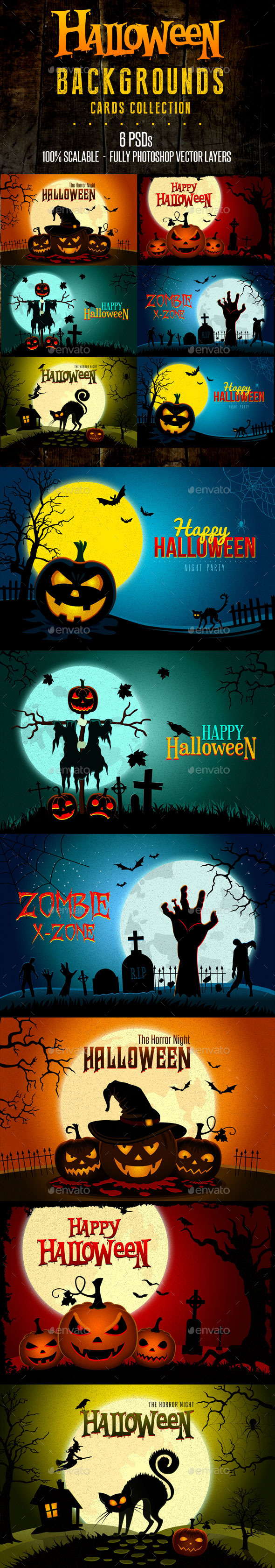 Halloween Landscapes Backgrounds Cards - Backgrounds Graphics