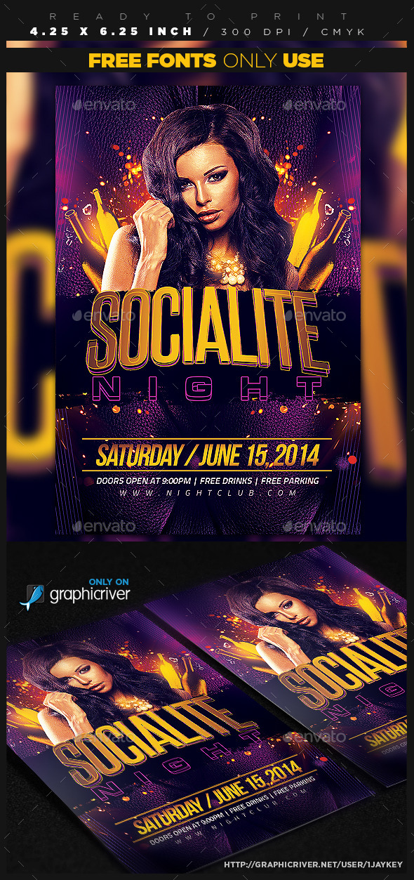 Socialite Night Flyer Template - Clubs & Parties Events