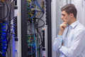 Technician try resolving the server problems in data center - PhotoDune Item for Sale