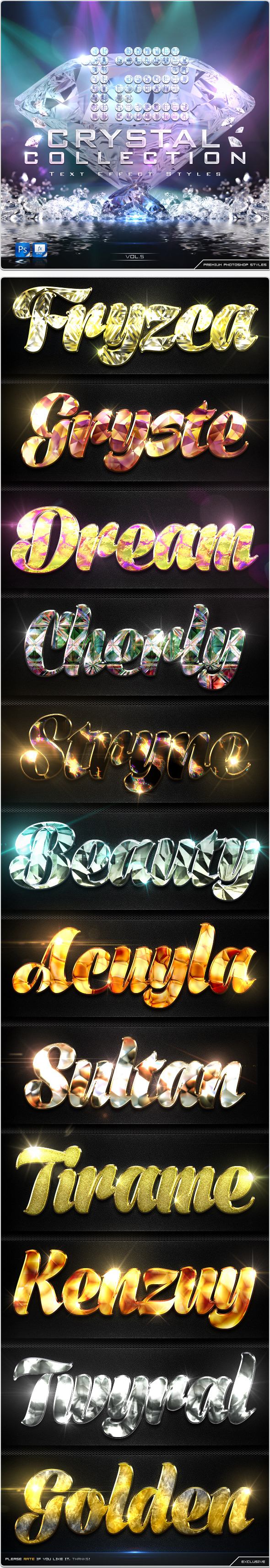 12 Crystal Collection Text Effect Styles Vol.5 - Text Effects Styles