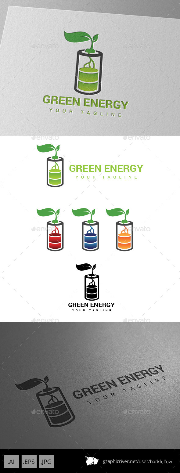 Battery  Green Energy Logo - Nature Logo Templates