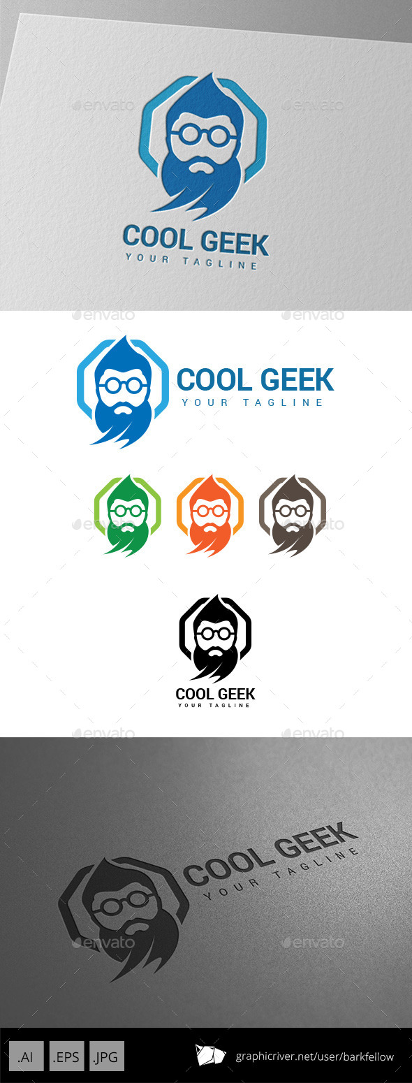 Old Genius Geek Logo - Humans Logo Templates