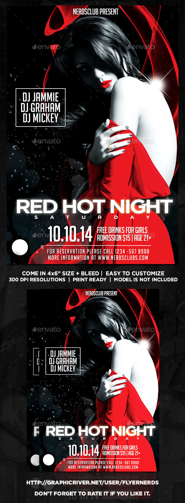 Red Hot Night Party Flyer - Clubs & Parties Events