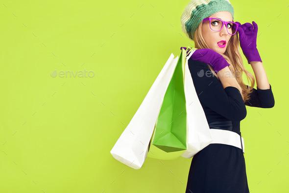 Autumn lady shopping - Stock Photo - Images