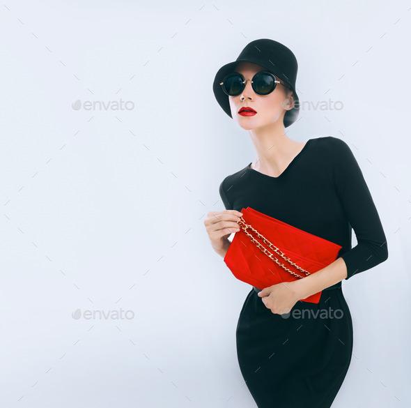 Retro style. Elegant glamor lady with clutches - Stock Photo - Images