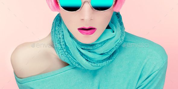 Glamorous young woman in stylish sunglasses - Stock Photo - Images