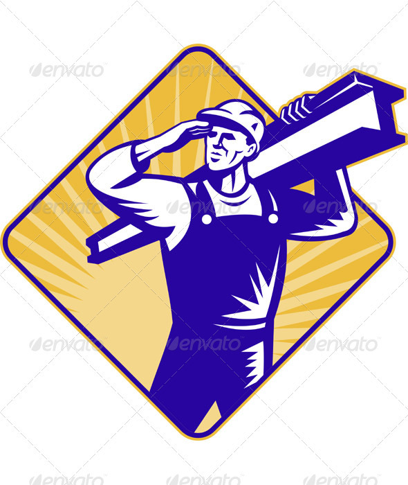Construction Worker Saluting Carrying I-Beam - Industries Business