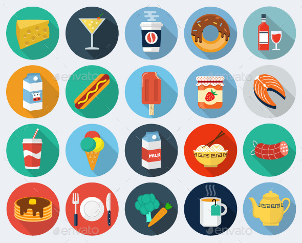 Food Flat Icons, Set 2 - Objects Illustrations