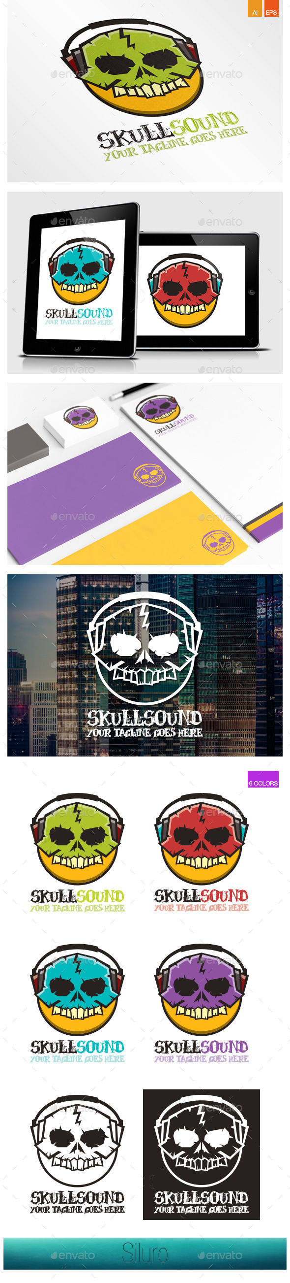 Skull Sound Logo - Symbols Logo Templates