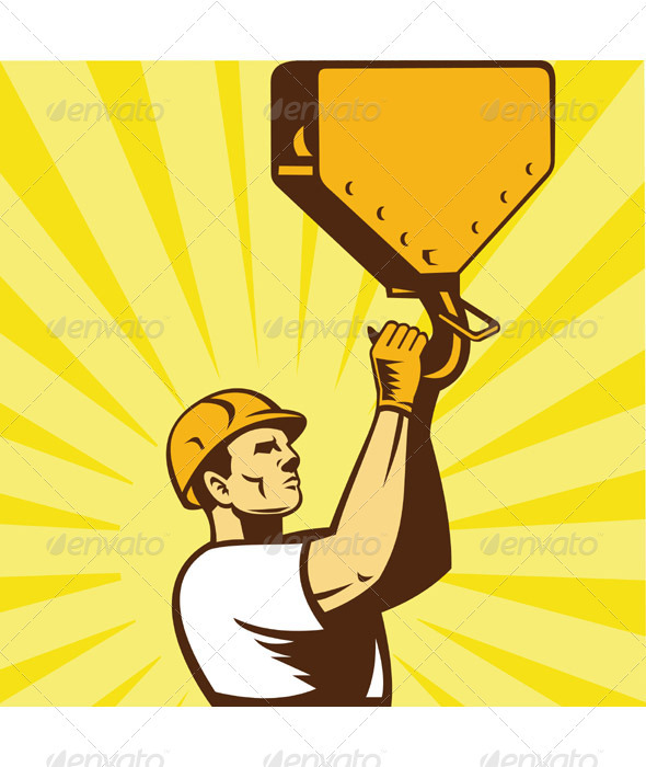 Construction Worker Wearing Hard Hat Holding Hook - Industries Business