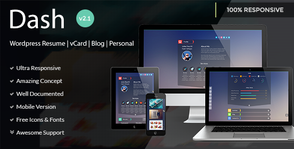Dash – WordPress Resume | vCard | Blog | Personal