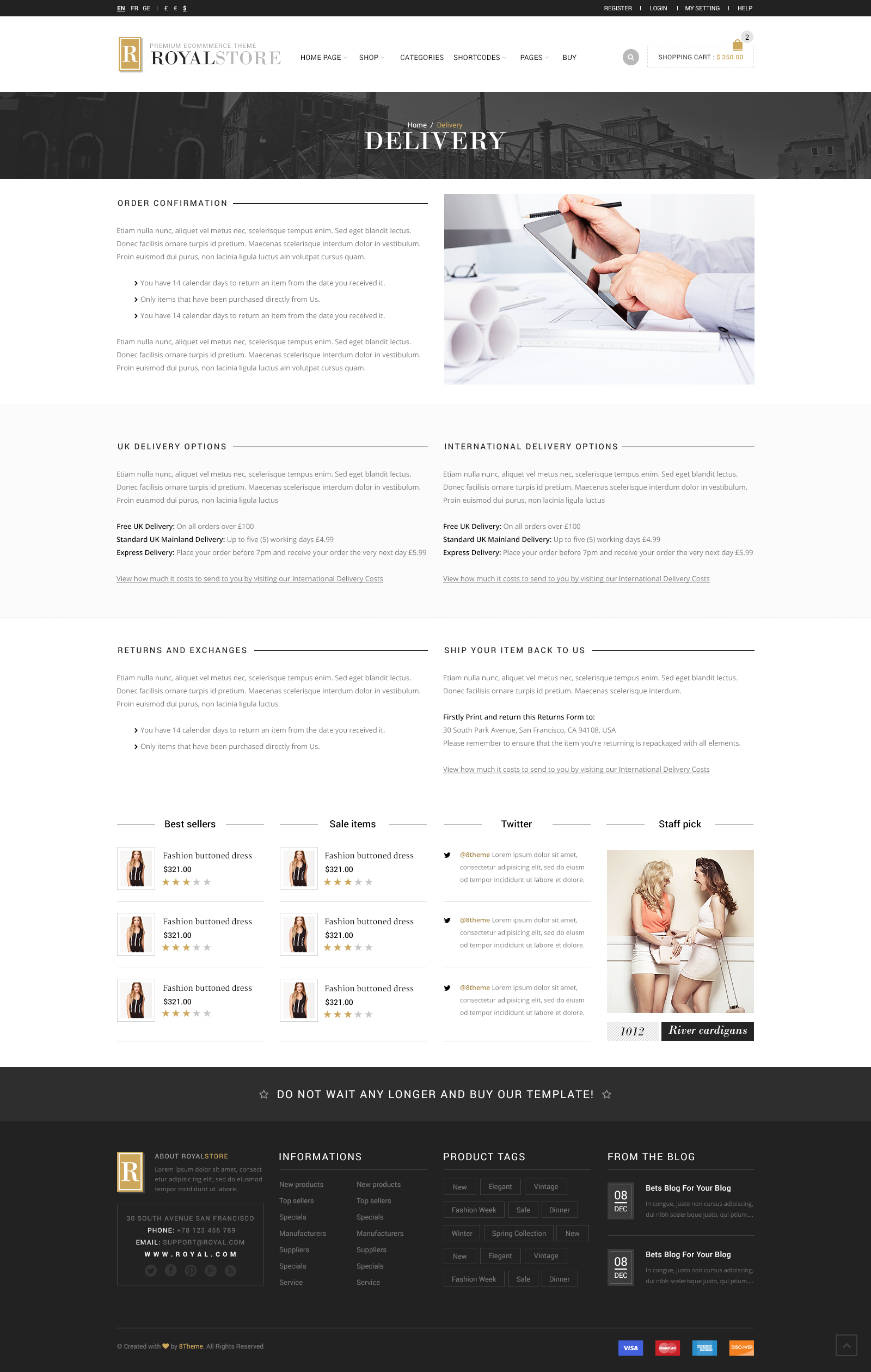 Royal Corporate and E merce PSD Theme by 8theme