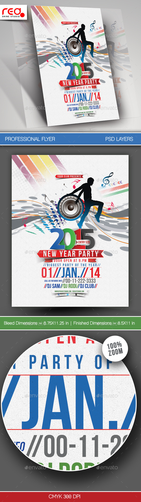 New Year Party Flyer & Poster Template - Clubs & Parties Events