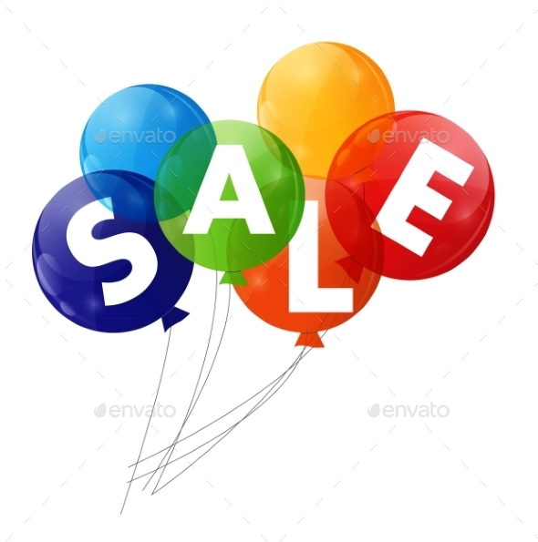 Color Glossy Balloons Sale Concept of Discount - Birthdays Seasons/Holidays