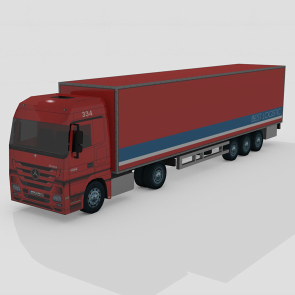 LOW POLY TRUCK MERCEDES ACTROS - 3DOcean Item for Sale