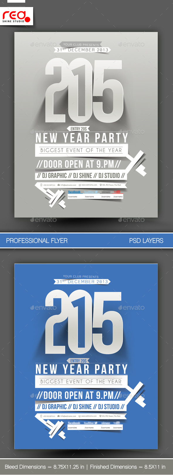 New Year Party Flyer & Poster Template -1 - Clubs & Parties Events