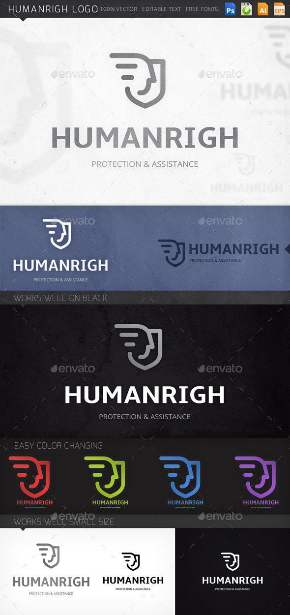 Humanrigh Man Shield Logo Template - Humans Logo Templates