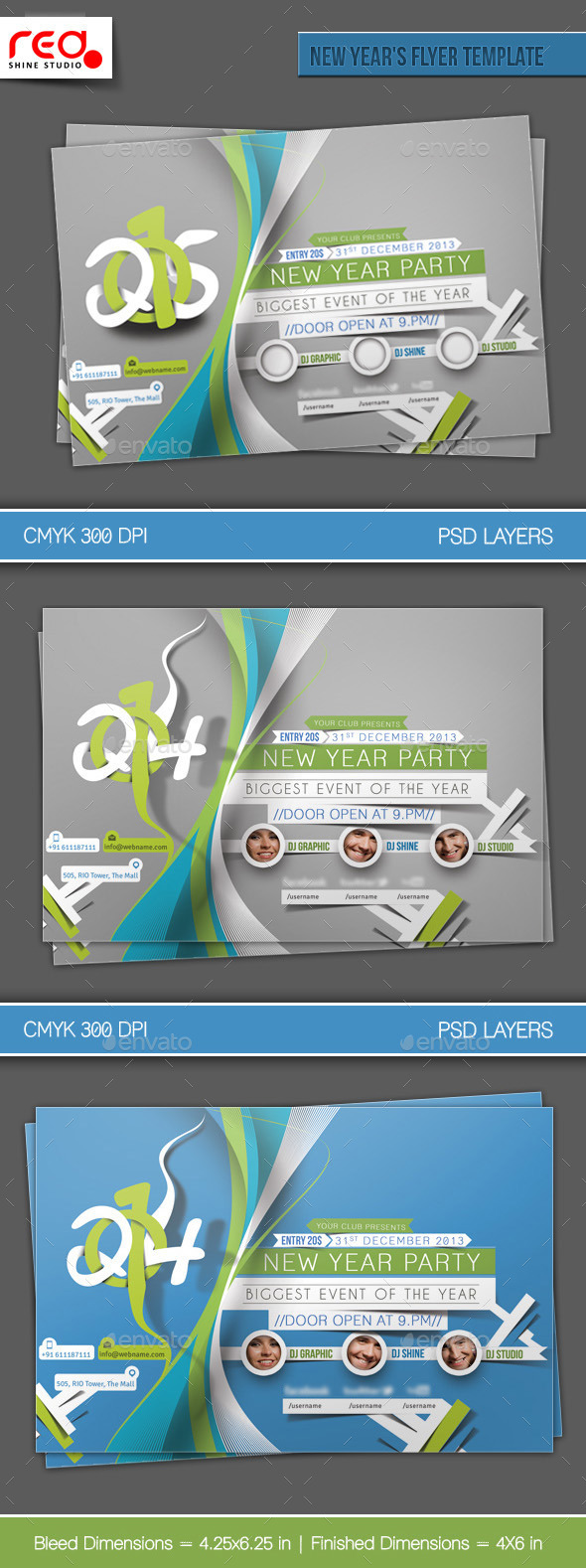New Year's Party Flyer & Poster Template - 3 - Clubs & Parties Events