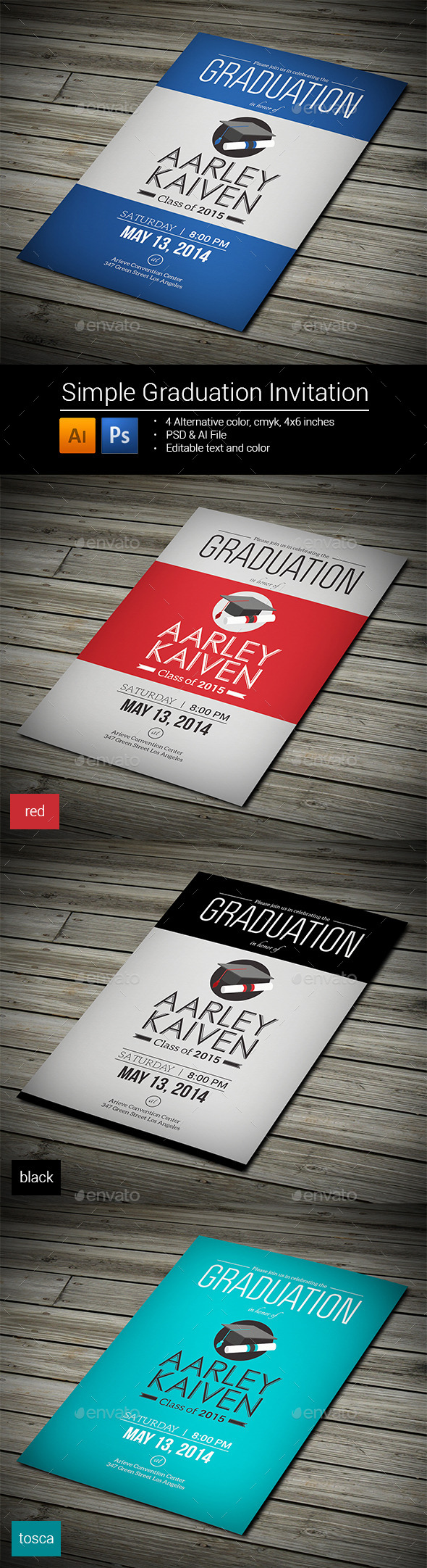 Simple Graduation Invitation - Invitations Cards & Invites
