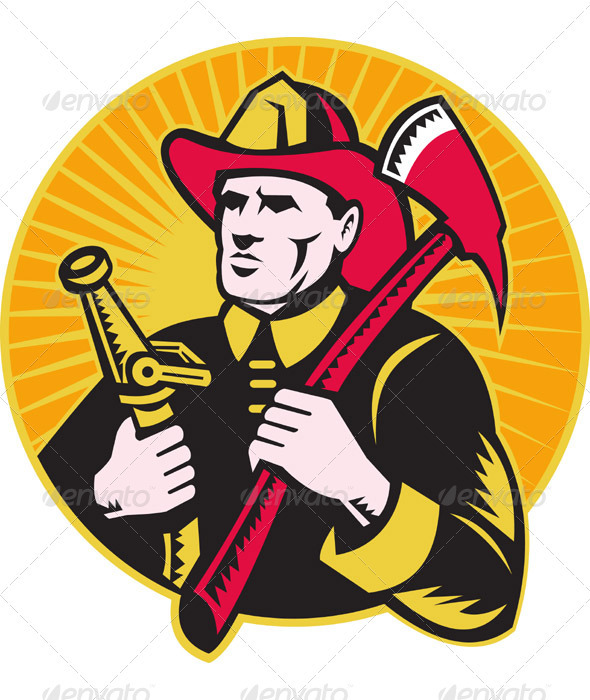 Fireman Firefighter Holding Axe And Hose - Industries Business
