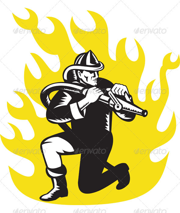 Fireman Firefighter Holding Aiming Fire Hose - Industries Business