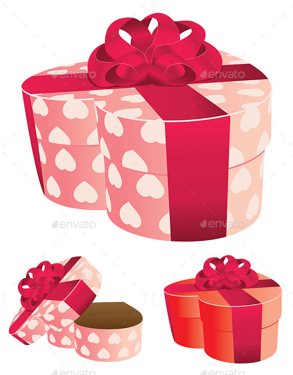 Heart Shaped Pink Gift Box - Valentines Seasons/Holidays