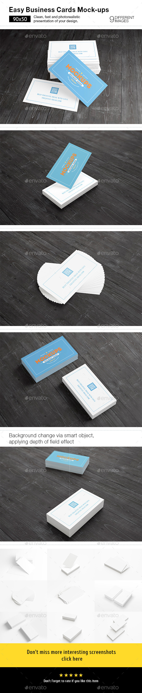 [90x50] Business Cards Mock-ups - Business Cards Print