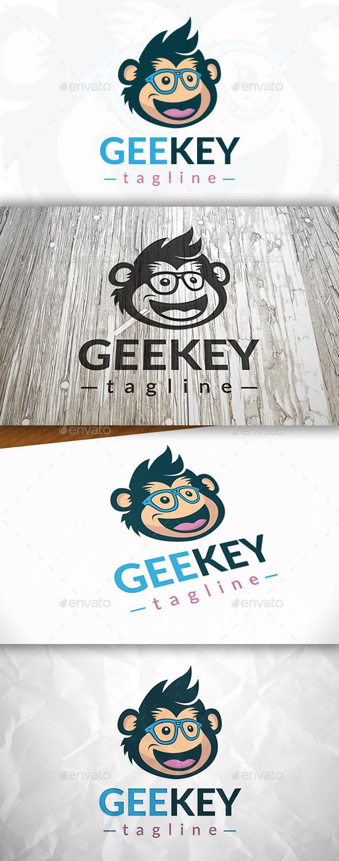Monkey Geek Logo - Animals Logo Templates