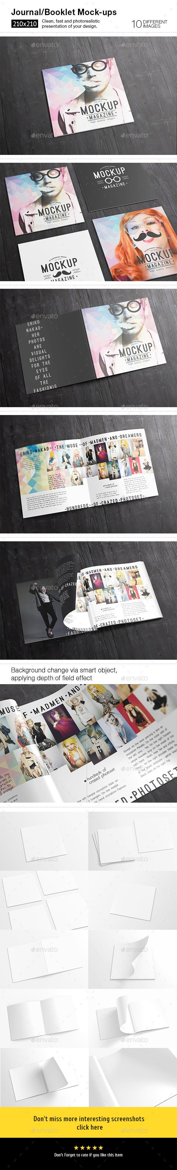 10 Square Magazine / Brochure Mock-ups - Magazines Print