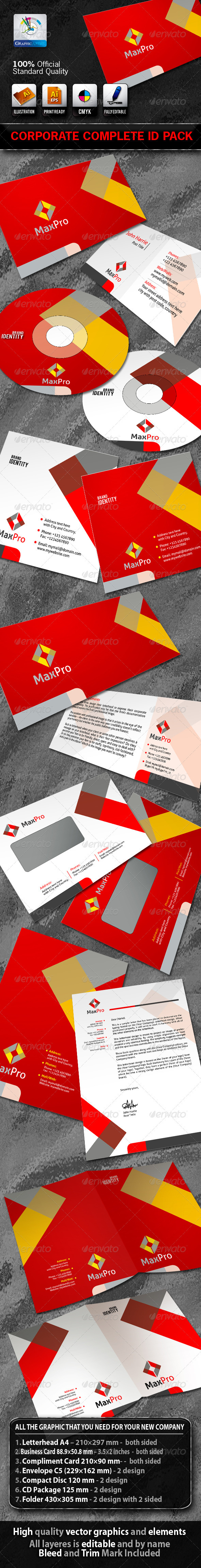 MaxPro Business Corporate ID Pack With Logo - Stationery Print Templates