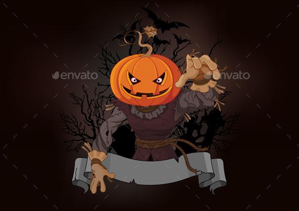 Scarecrow with a Pumpkin Head - Halloween Seasons/Holidays