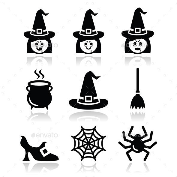 Witch Halloween Icons Set - Halloween Seasons/Holidays