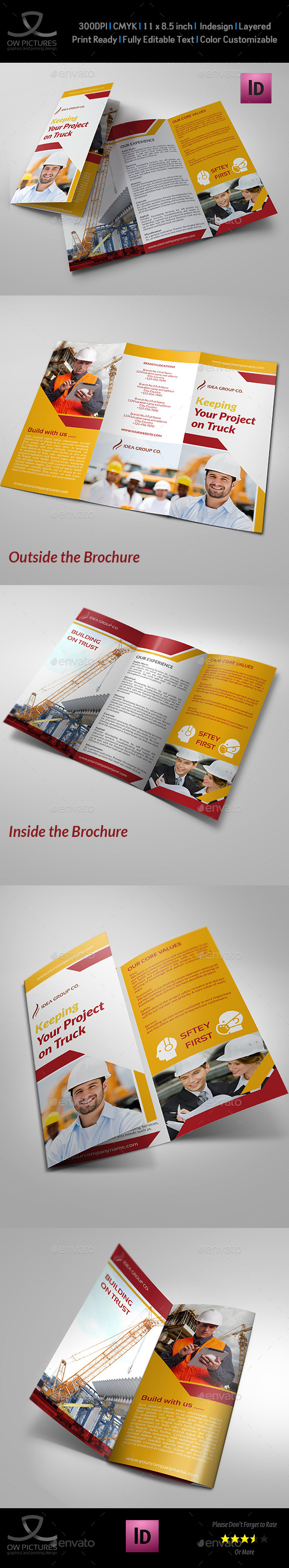 Construction Business Tri-Fold Brochure Vol.3 - Corporate Brochures