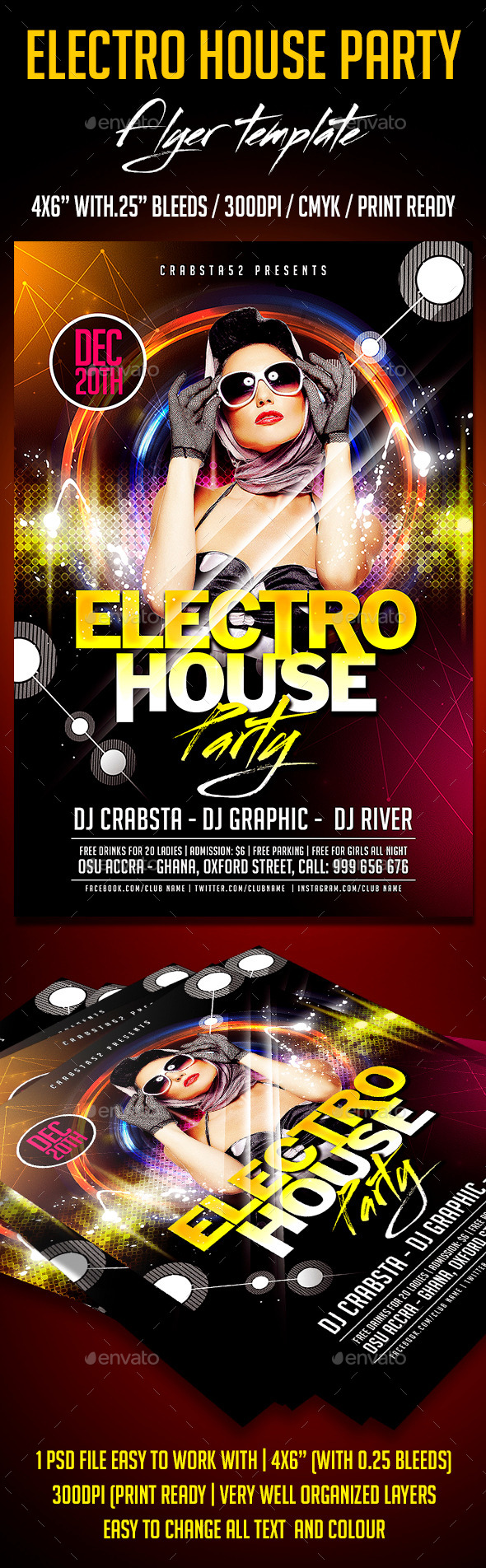 Electro House Party Flyer Template - Clubs & Parties Events