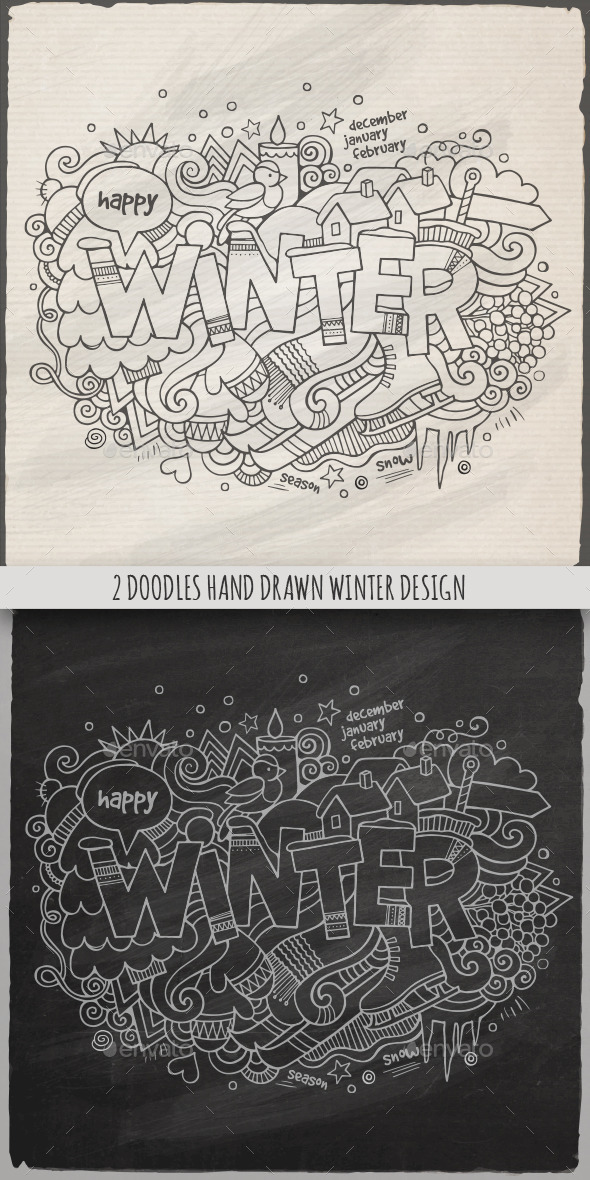 2 Winter Doodles Designs - Seasons Nature