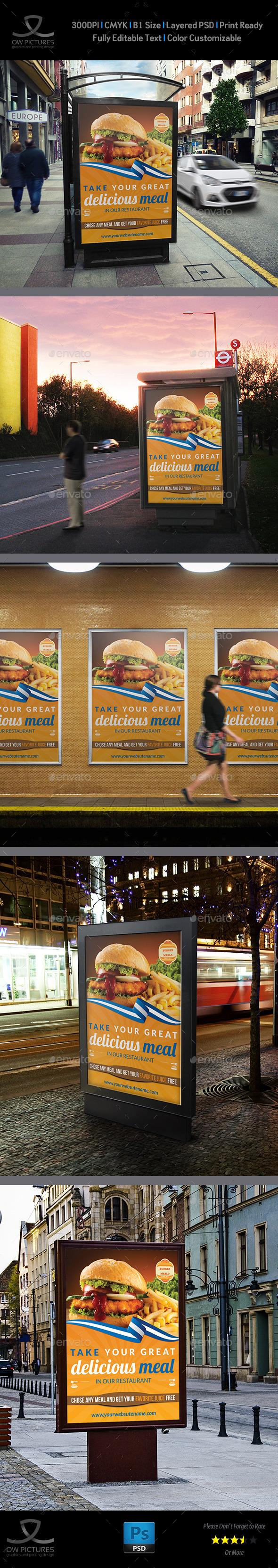Burger Restaurant Poster Template Vol.2 - Signage Print Templates