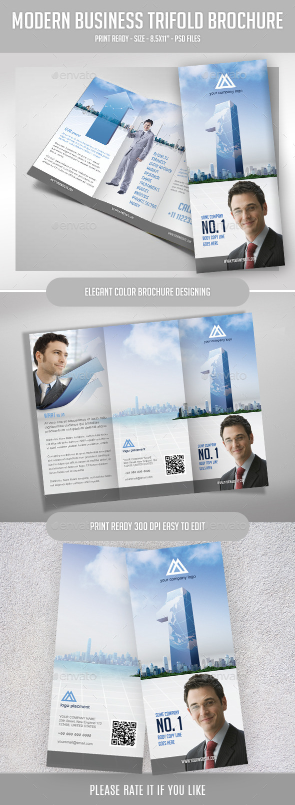 Tri-fold Brochure for Top Business Agency - Corporate Brochures