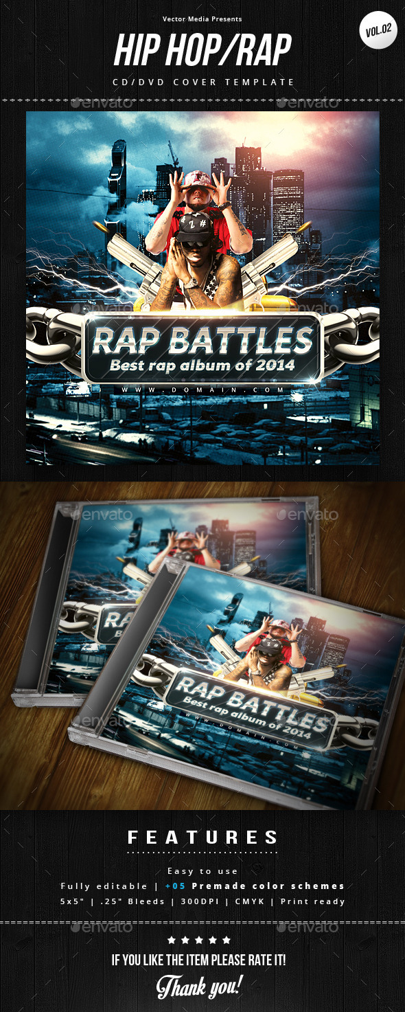 Hip Hop / Rap - Cd Cover [Vol.2] - CD & DVD Artwork Print Templates