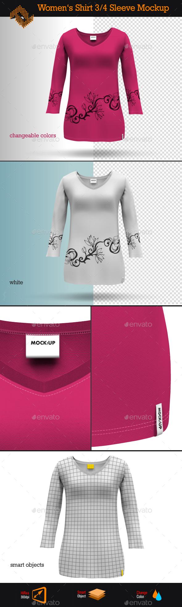 Womens 3/4 Sleeve Shirt Mockup - Apparel Product Mock-Ups