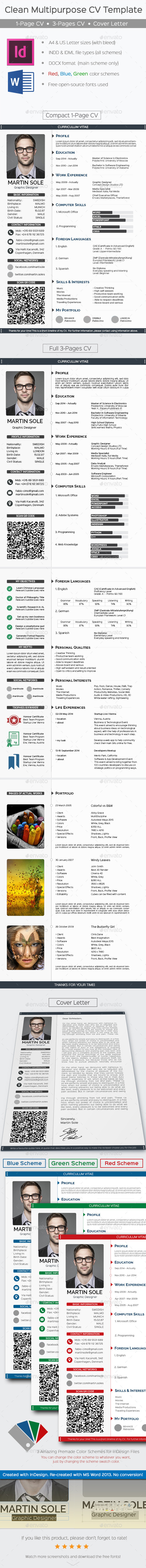 Clean Multipurpose CV Template - Resumes Stationery