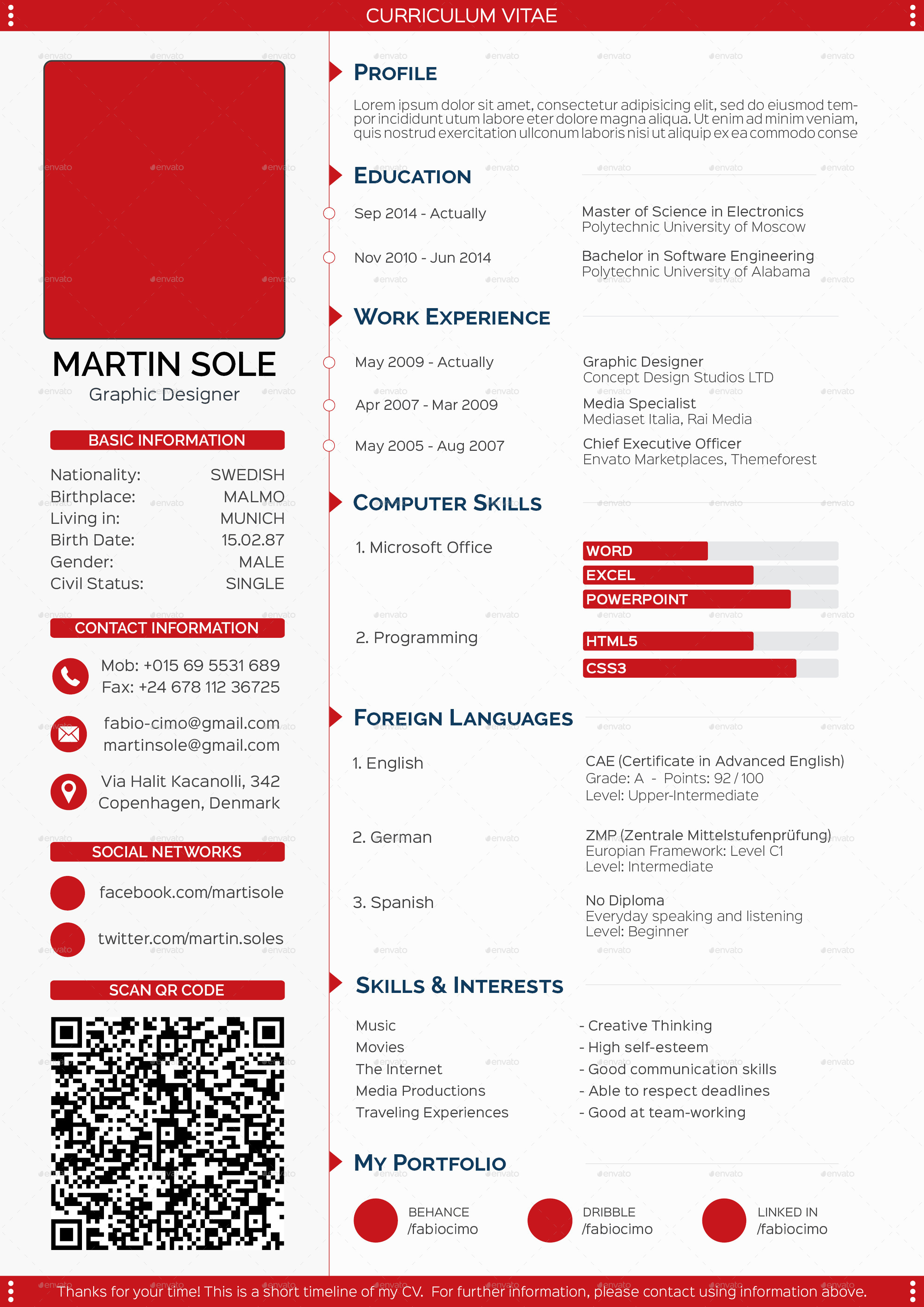... 1 Page CV   Red Scheme ...  Resume How Many Pages