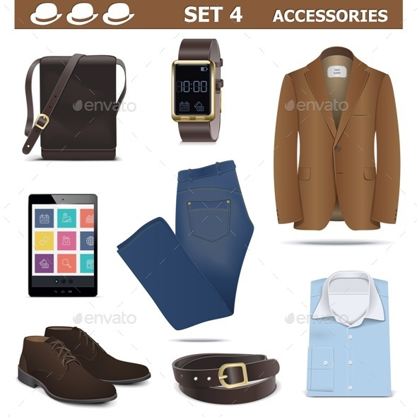 Vector Male Accessories Set 4 - Commercial / Shopping Conceptual