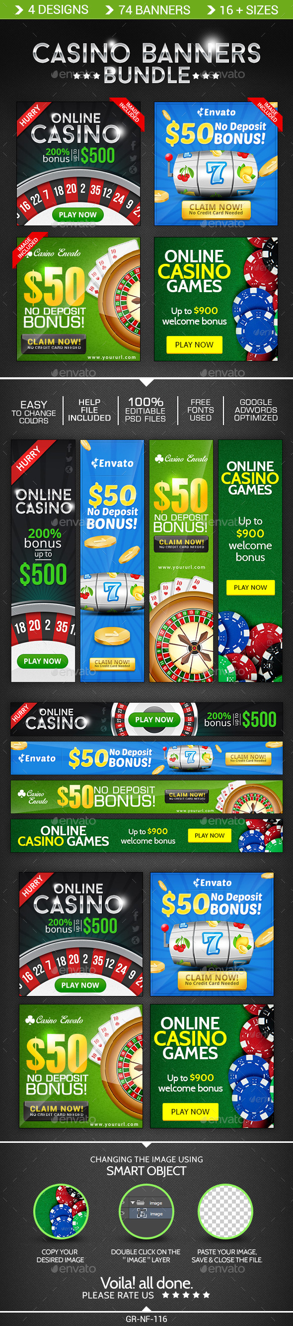 Casino Banner Design  Bundle - 4 Sets - Banners & Ads Web Elements