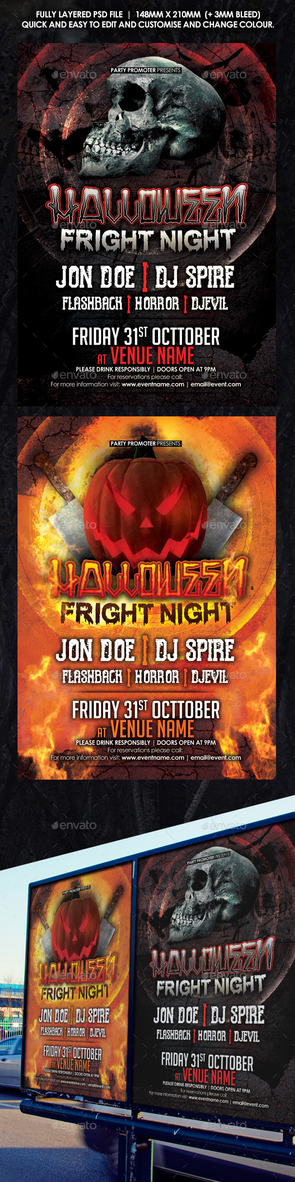 Halloween Fright Night Two Flyer Pack - Holidays Events