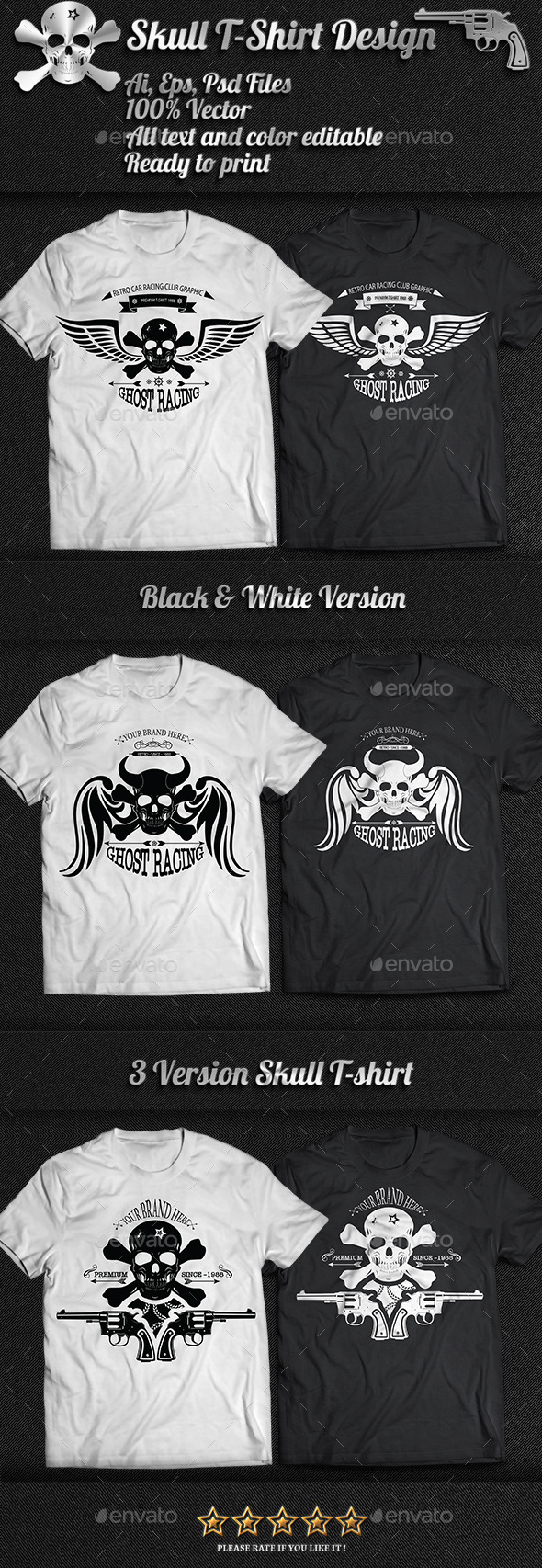 3 Skull T-Shirt Design - Designs T-Shirts