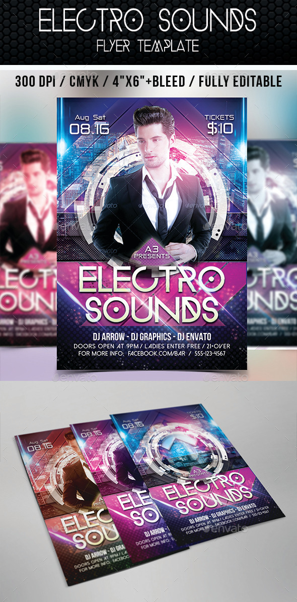 Electro Sounds Flyer Template - Clubs & Parties Events