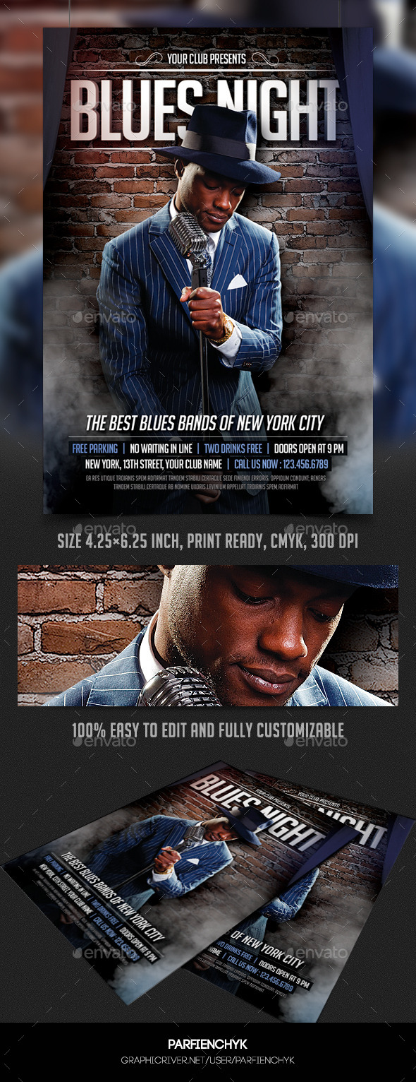 Blues Night Flyer Template - Clubs & Parties Events